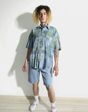Vintage 90s casual abstract shirt mens