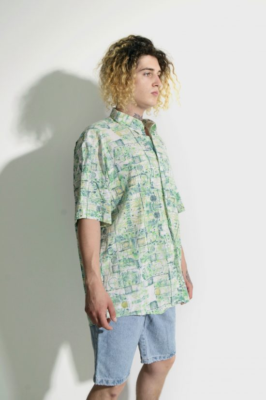80s retro abstract cotton shirt mens
