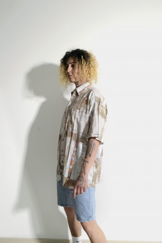 Retro 90s pastel print multi shirt men