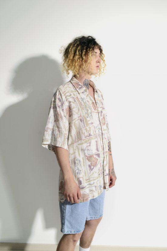 Retro pastel print shirt multi colour