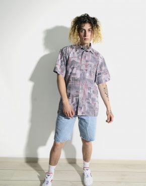 90s abstract pattern shirt mens