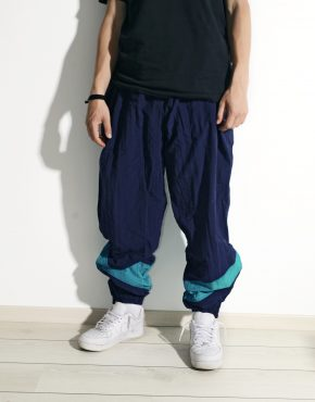 Vintage festival blue shell nylon pants