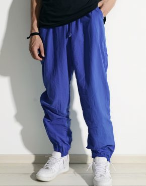 Retro blue festival shell nylon pants