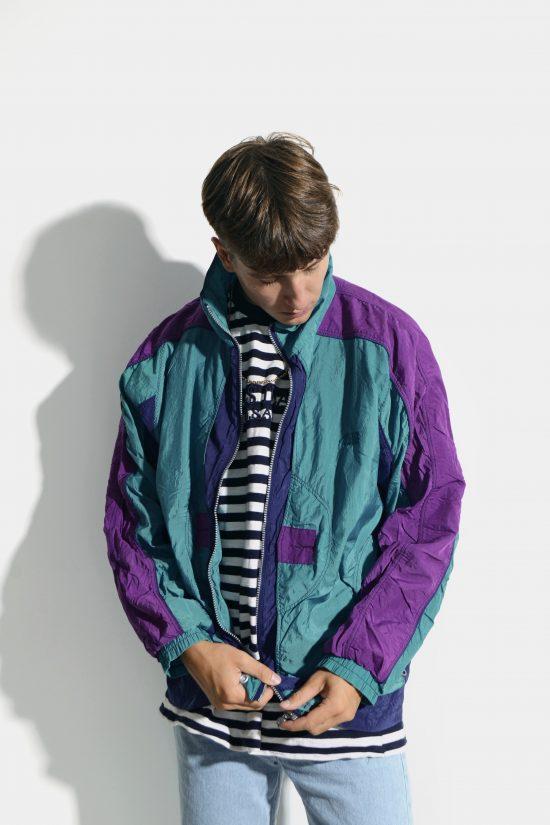 90s retro multi colour block jacket