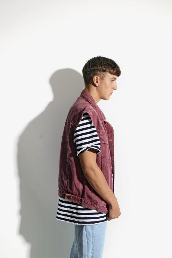 Vintage men denim vest cherry maroon