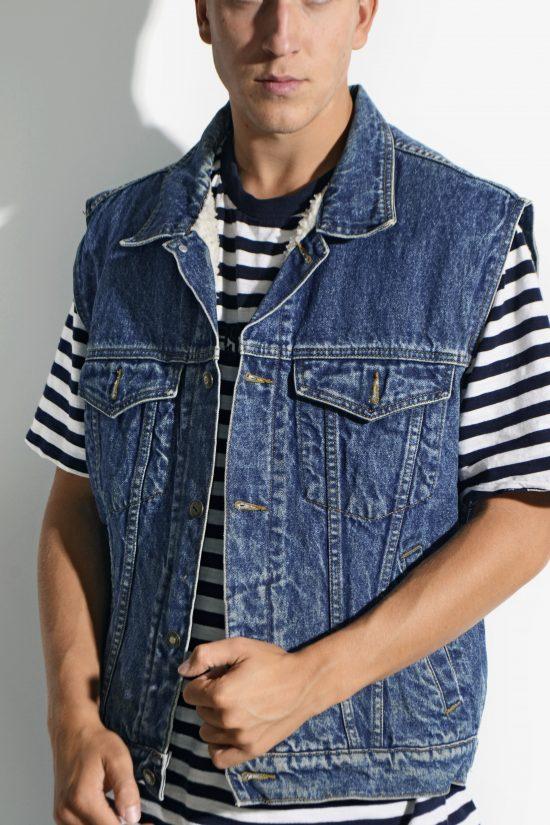 Vintage sherpa denim vest men