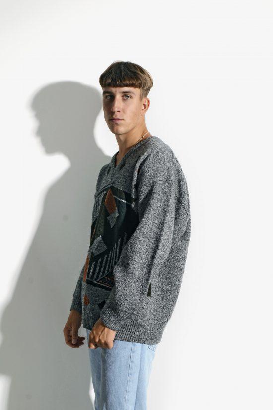 80s vintage sweater geometric pattern grey