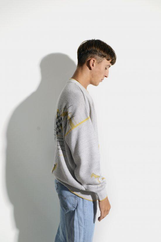 Cardigan 80s sweater men grey