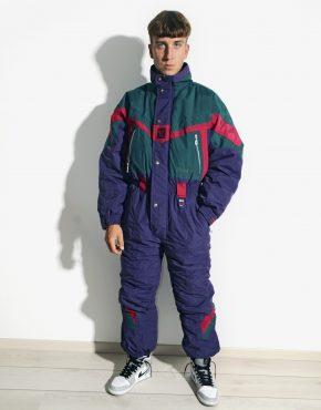 80s retro winter warm ski suit