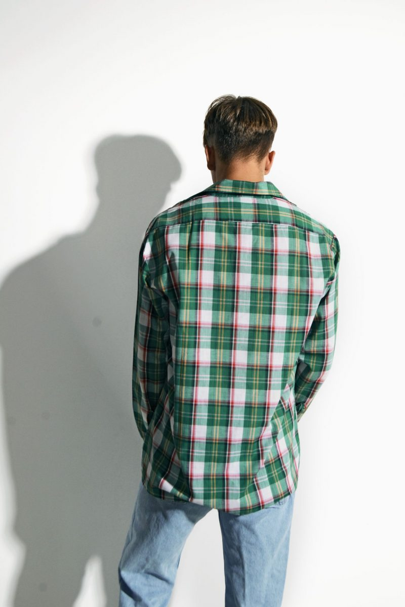 Vintage plaid long sleeve shirt mens green