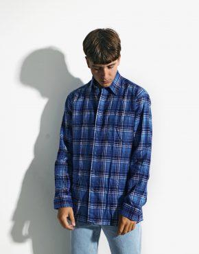 Retro fleece plaid shirt