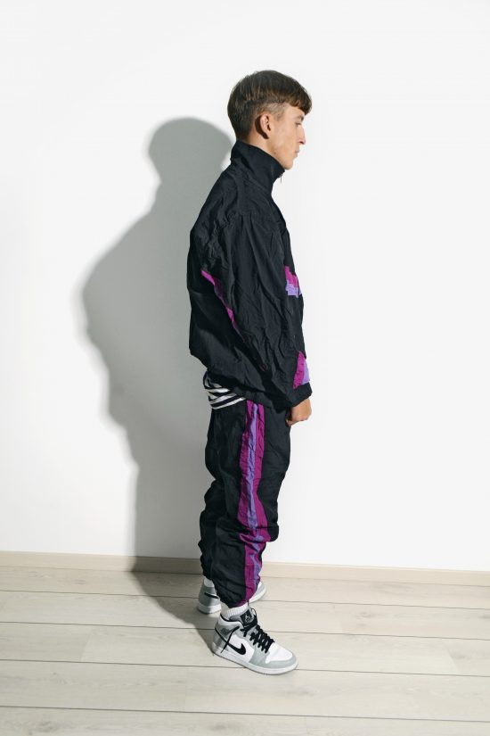 80s retro rave tracksuit set in black