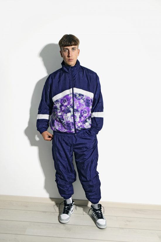 90s abstract blue purple shell suit