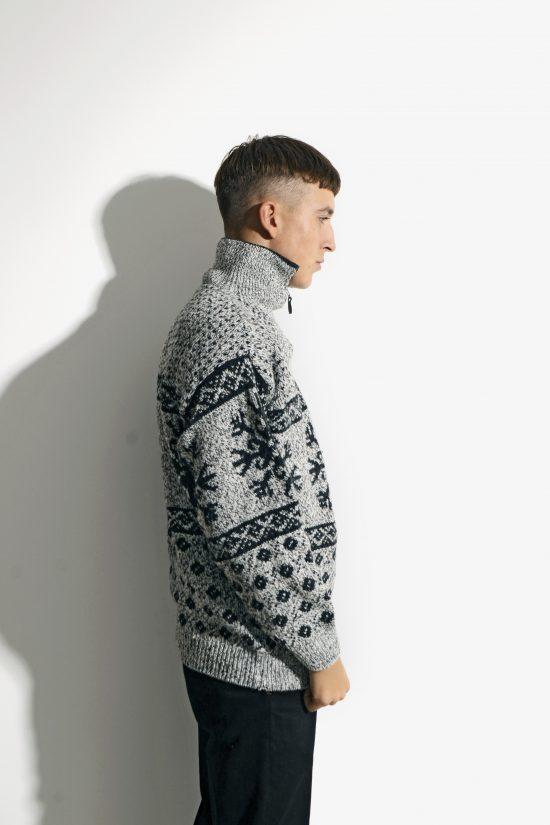 90s retro sweater mens grey