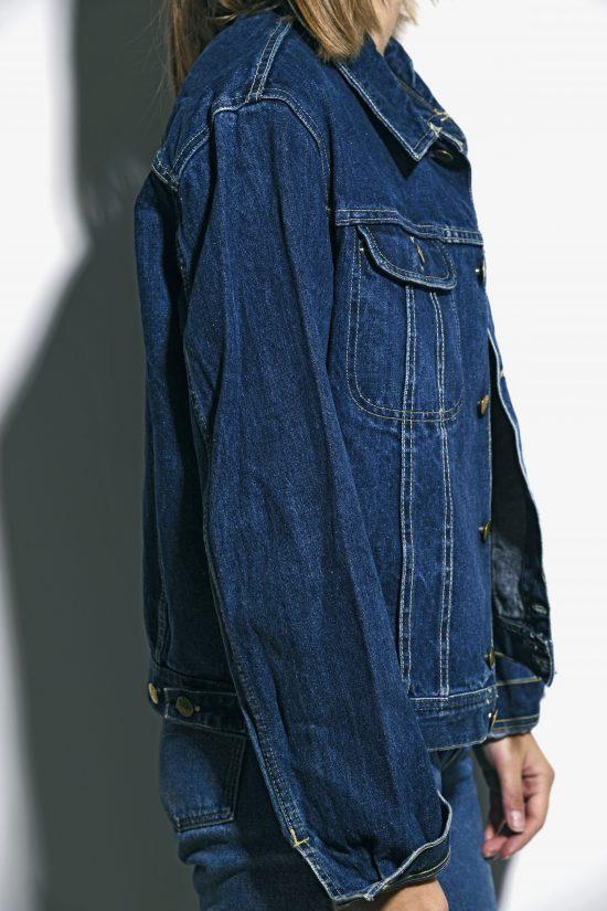 70s denim jacket in dark wash blue unisex