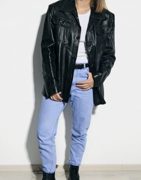 Retro leather long coat