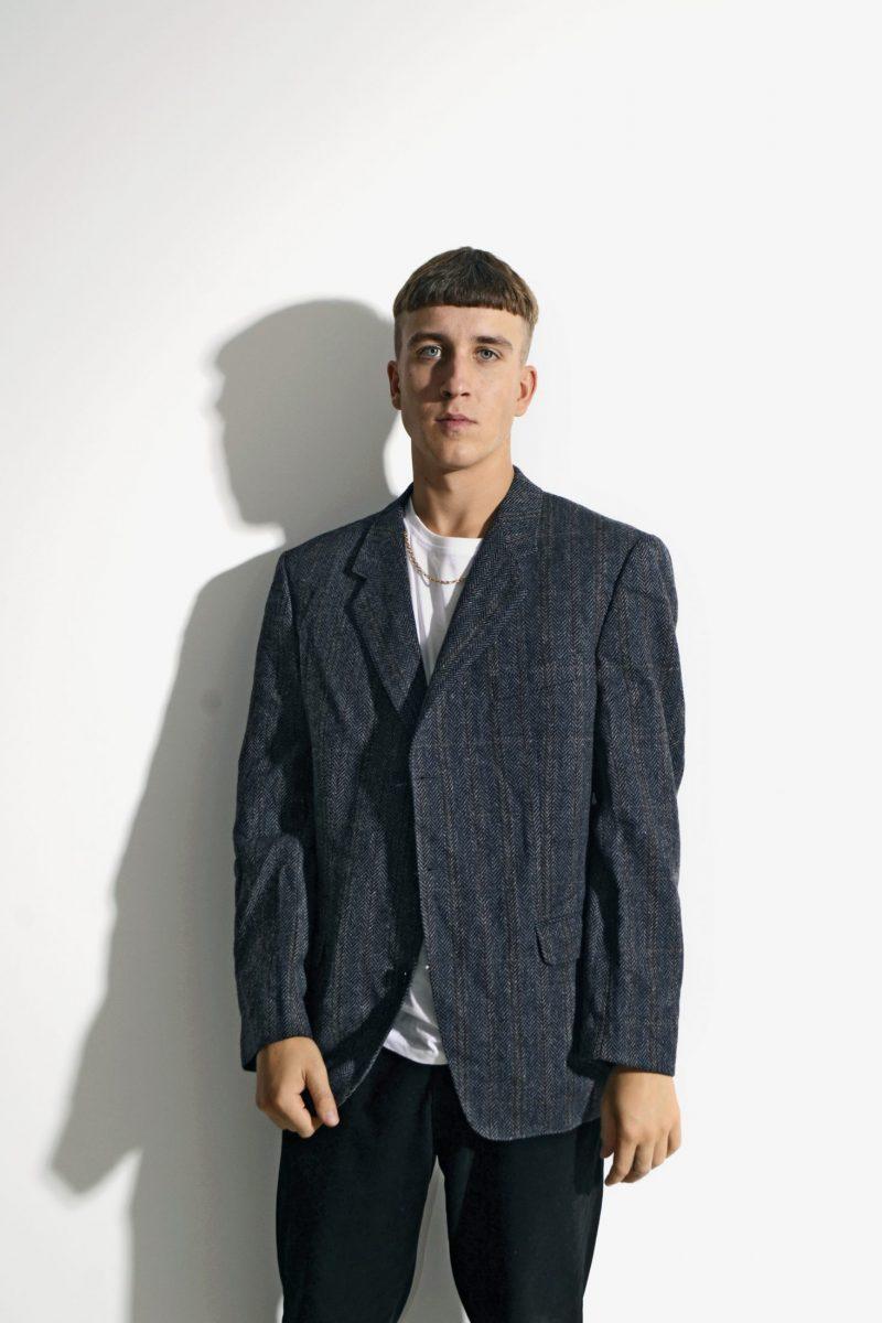 Vintage 80s wool blazer mens dark blue