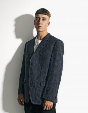 80s wool blazer blue