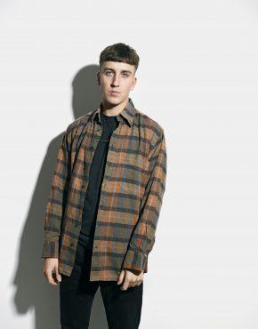 Flannel plaid shirt brown