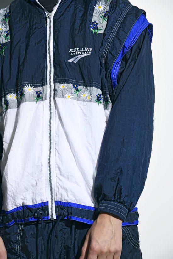 Sport vintage tracksuit set blue white