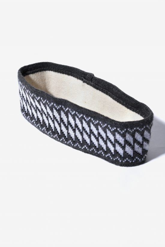 Retro ski headband grey white unisex