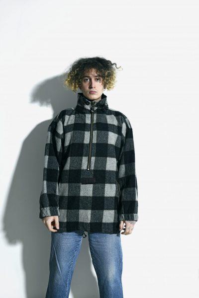 90s warm plaid coat