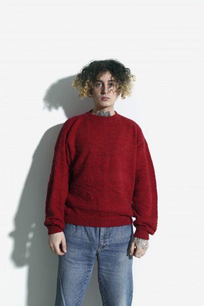 Retro red sweater men