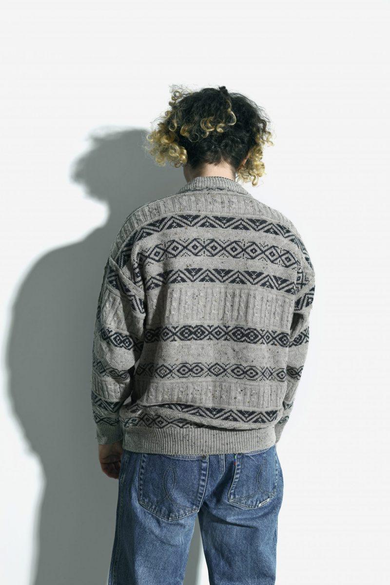 90s retro sweater mens beige