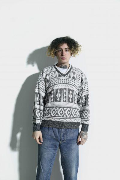 80s sweater mens white