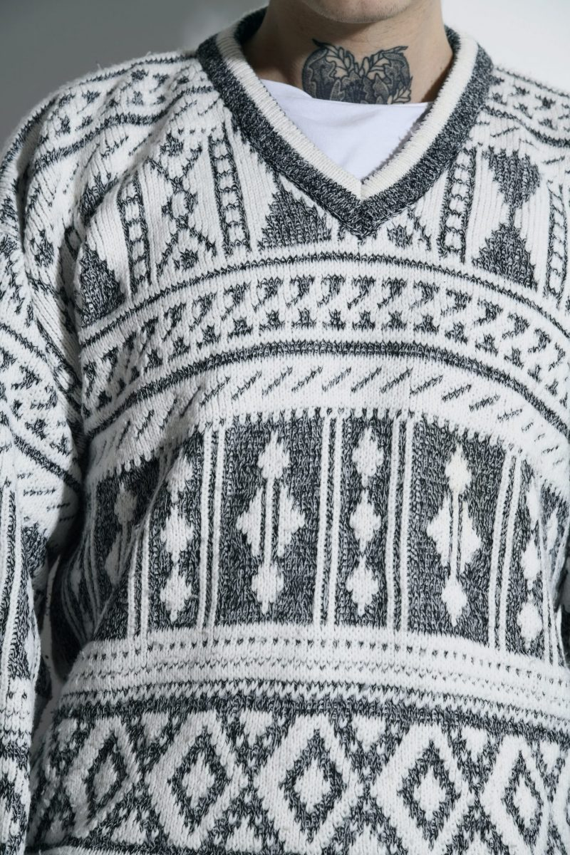 80s retro sweater mens white grey
