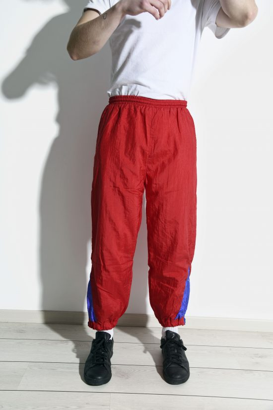 Retro 80s nylon shell pants in red