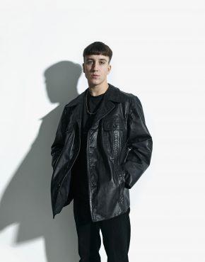 70s leather long coat