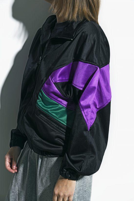Vintage 80s track jacket black multi