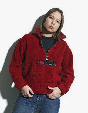 Retro fleece red pullover