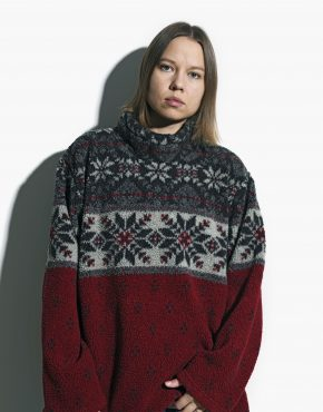 red warm ski pullover