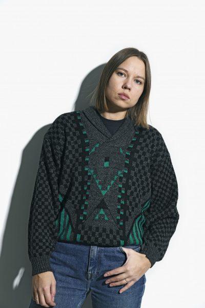 retro sweater grey green