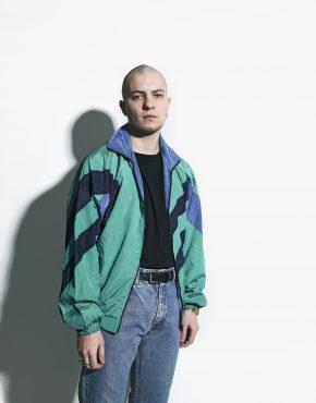 vintage windbreaker green jacket