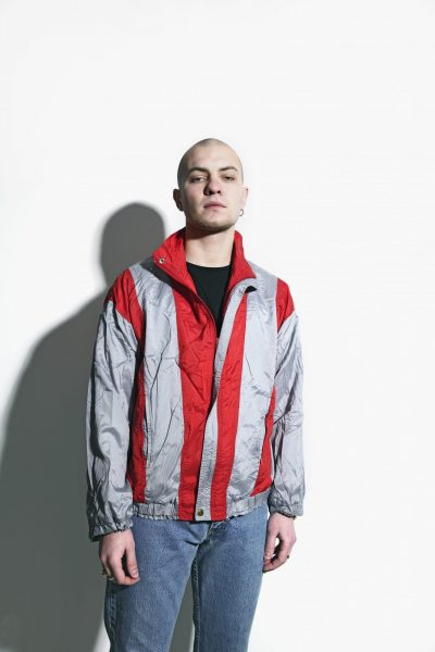80s jacket red grey