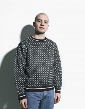 retro jumper mens grey