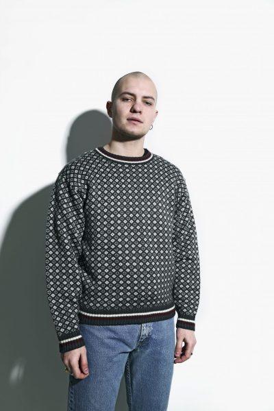 retro jumper mens grey