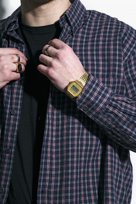 Retro flannel plaid shirt mens