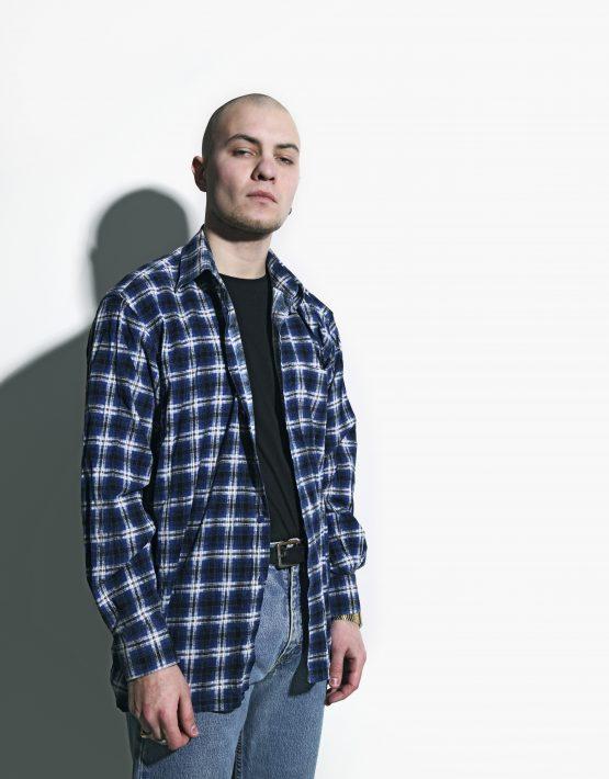 Retro plaid shirt blue