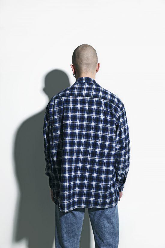 Retro flannel plaid shirt mens blue