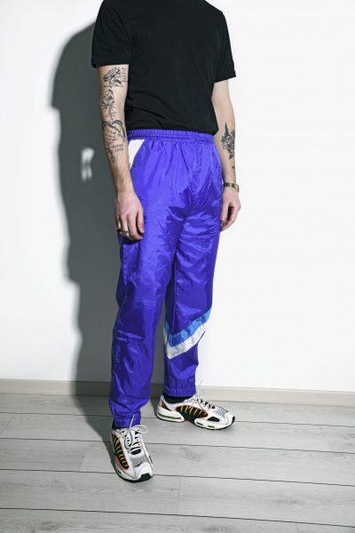 Retro blue sports trousers