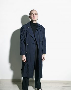 retro trench coat blue