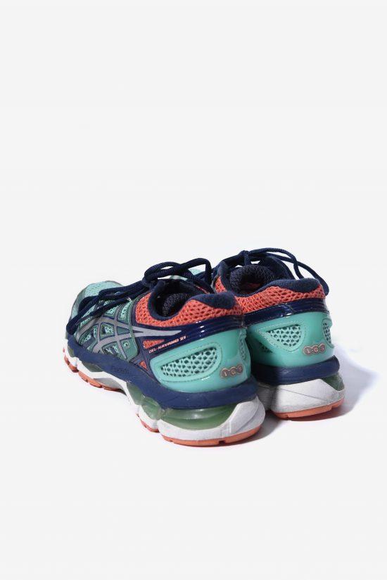 ASICS 90s style trainers green orange