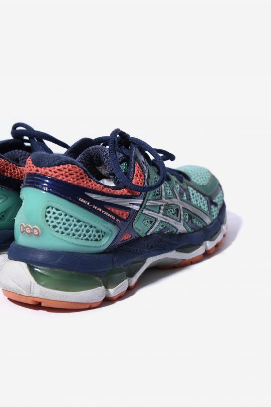 ASICS 90s style trainers green orange