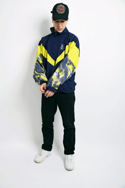 90s retro windbreaker yellow