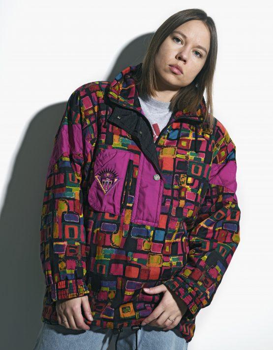 vintage ski pullover jacket