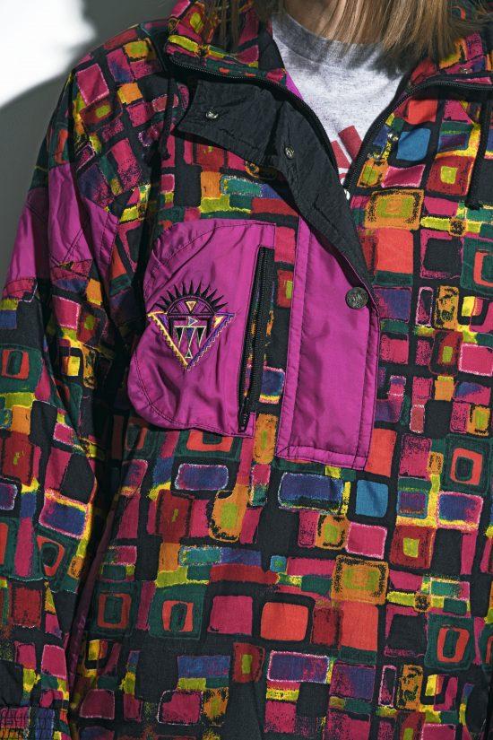 90s vintage ski pullover jacket